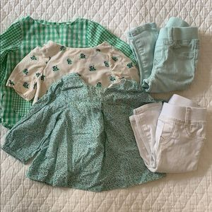 Sweet green vignette of baby girl clothes, 5 pcs
